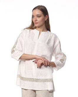 381066fefb92 Белая льняная женская рубашка с кружевом, арт. Ш1022-19
