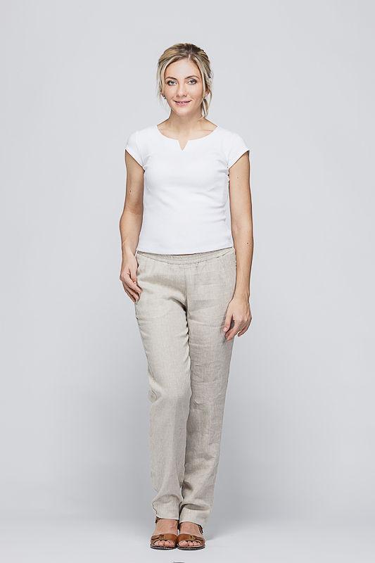 c2098dc166fe Женские льняные брюки натурального цвета на резинке, арт. 3/45, натуральный