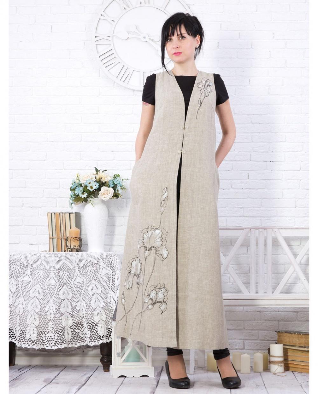 c2253ecfa2b Длинный женский дизайнерский жилет изо льна с росписью