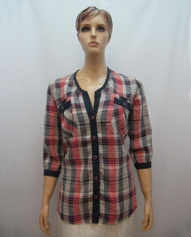 0b4736e7c81f Женская льняная рубашка в клетку