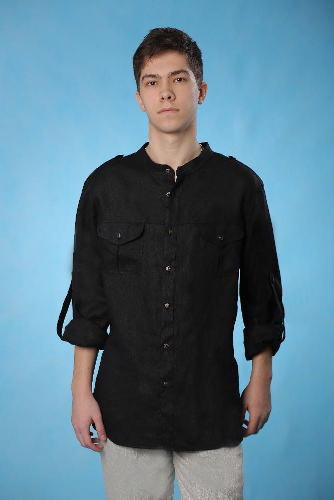 c687f6bf7f0bf87 Рубашка мужская из льна, черная с длинным рукавом, воротник- стойка, СМ-