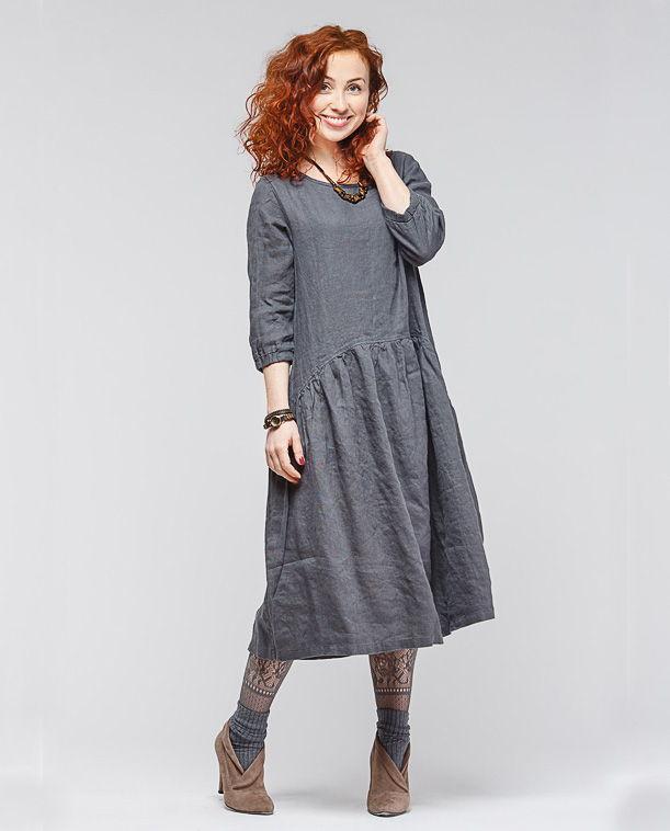 3c5173152ad Свободное льняное платье в стиле БОХО