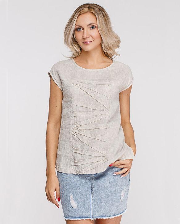 0a99aeef190 Летняя блуза без рукавов из вываренного льна