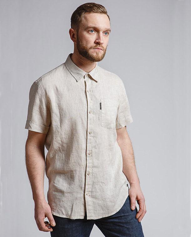 67e2e57f1418 Мужская рубашка с коротким рукавом из 100% льна, арт. 2002, натуральный