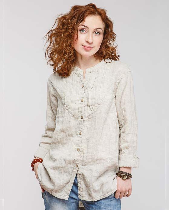dbb9adcb1db Женская льняная рубашка с длинным рукавом